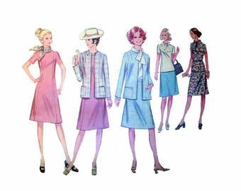 "70's Women's Dress, Jacket, Skirt, Blouse Sewing Pattern Size 16 Bust 39"" Vintage 1970's Uncut McCall's 2708"