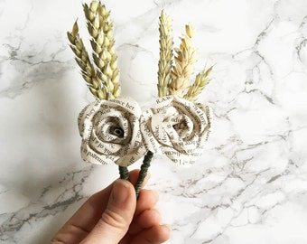 Book Page and Wheat Buttonhole / Book Paper Boutonniere / Mens Buttonholes / Paper Flower Buttonholes / Rustic Wedding Buttonhole / UK