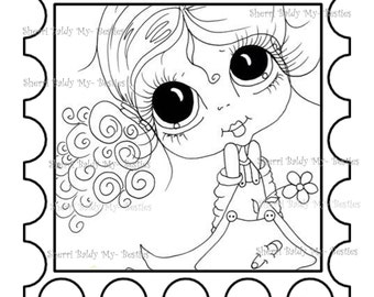 INSTANT DOWNLOAD Digi Stamps Big Eye Big Head Dolls Digi Bestie Stamp 1 By Sherri Baldy