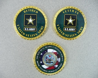 ARMY Retired Veteran Challenge Coin Retirement Custom Personalized Memorial Coin Name Rank Military Gift