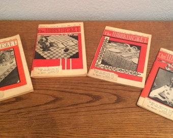 "Lot of 4 Vintage ""The Workbasket"" Needlecraft Magazines 1963-February thru May"