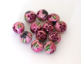 Pink Rose Polymer Clay Beads, Bead Dozen, Dragonfly Design, Round Beads , 12 Pieces - Made to Order