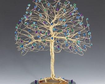 Tree Cake Topper with Swarovski Crystal Elements Peacock Capri Blue Emerald Blue Zircon Purple Velvet on Silver Gold or Copper Tone Wire