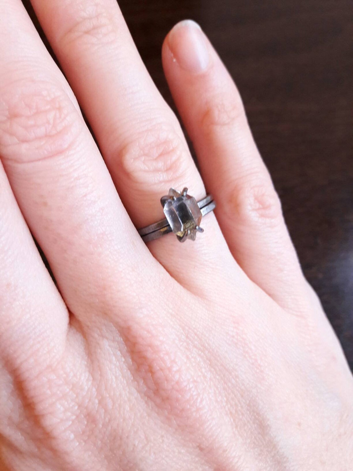 Herkimer Diamond and Oxidized Silver Ring Set Blackened