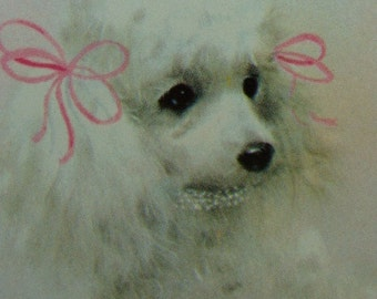Vintage Beautiful White French Poodle Playing Cards