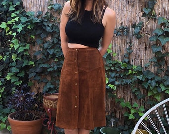 Vintage Suede A-Line Midi Skirt Snap Front