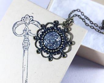 Special Occasion Necklace, Silver Druzy Necklace, Valentine's Gift, Silver Druzy Pendant, Filigree Pendant, Bridesmaid Jewelry, Vintage