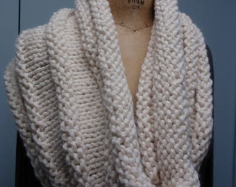 Hand Knitted Shrug with Horizontal Design Cream Color
