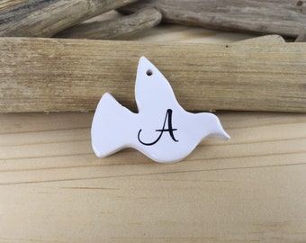 Personalised white ceramic dove-initial decoration-ceramic dove-white dove-personalised decoration-new baby gift-wedding gift