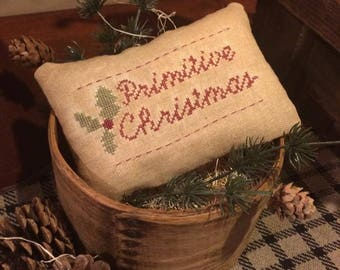 Primitive Christmas Pillow Tuck Pin Keep | Farmhouse Colonial Prim Decor | Stitchery Sampler | Holly |