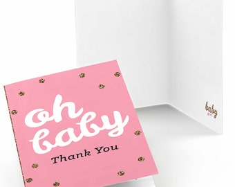 Hello Little One - Girl Thank You Cards - Baby Shower Thank You Cards - Pink and Gold - Thank You's - Set of 8 Folding Note Cards