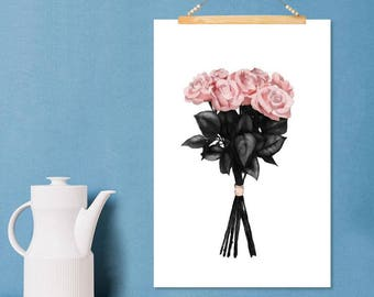 """JUNIQE ® Roses-Design """"pink bouquet""""-murals, framed pictures & Framed posters-Art with flowers 