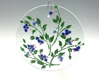 Blueberry Suncatcher, Fused Glass, Large Blueberry Window Hanging, Berries