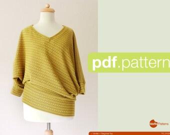 Patron PDF. Les femmes diagonale tricot haut - vanille - (taille 34-48)