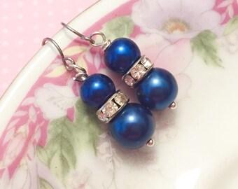 Blue Pearl Earrings, Blue Rhinestone Earrings, Blue Pearl Drop Earrings, Short Dangle Earrings, Royal Blue Earrings, KreatedByKelly (DE1)