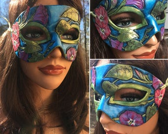 Lady of September Sapphire Morning Glory Leather Mask - Limited Edition 1 of 10 Birthstone Birth Flower Art Nouveau Mardi Gras Masquerade