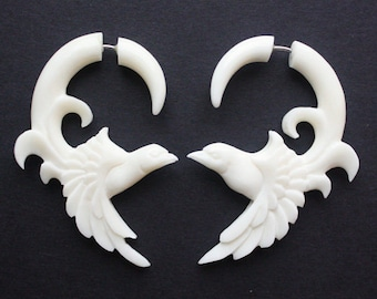FREEBIRD - Hand Carved Fake Gauges - Natural White Bone - Tribal Bird Earrings