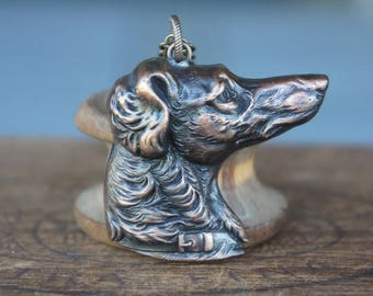 Regal Setter Dog Hunting Dog Pendant French Brass Stamping Necklace Antique Vintage Style