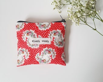 Shark Week- Red - Feminine Product Storage - Period / Personal Pouch