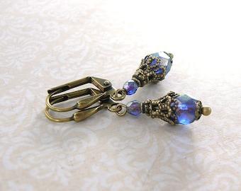 Shimmery Dainty Blue Vintage Style Earrings - Czech Glass Blue Bead Earrings - Antique Brass Jewelry - Boho Blue Bronze Earrings