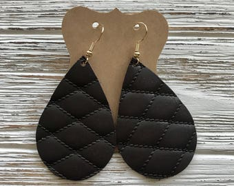 White or Brown quilted leather earrings, lightweight leather earrings, genuine leather