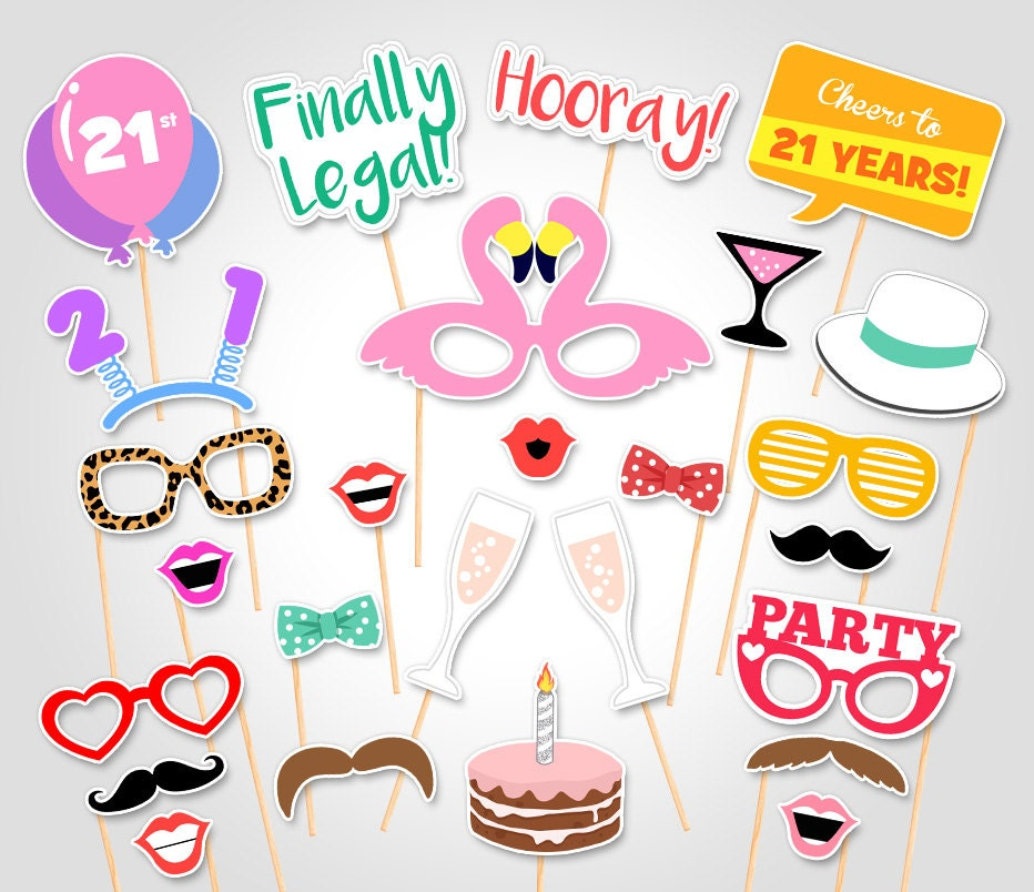 Printable Birthday Photo Booth Props ~ St birthday party printable photo booth props