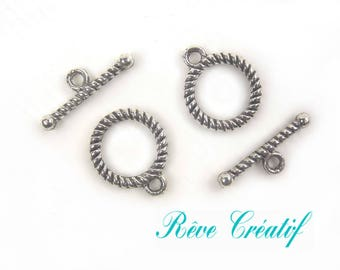 Toggle clasps, clasps T, 16mm x 13mm, hole 2mm, tribal style, silver, 10 pieces