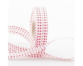 20MM folded cotton fabric: white red polka dot pattern