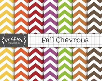 Chevron Digital Paper Pack, Fall Digital Paper, Printable Scrapbook Paper, Thanksgiving Digital Scrapbooking, Chevron Digital Background