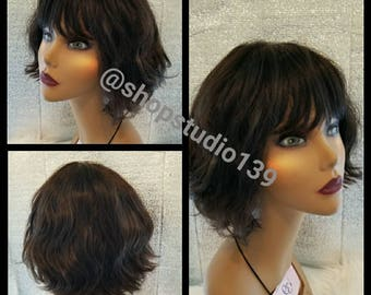 Human hair curly Bob with bangs wig non lace  custom made and cut