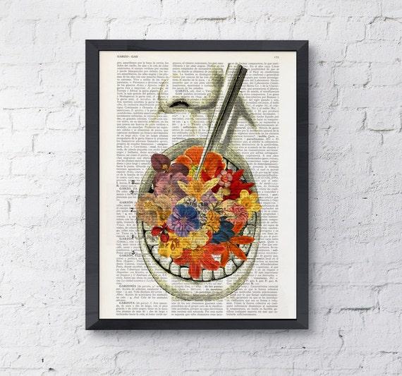Art Print Flowery breath, Wall art print, office decor gift, doctor gift, wall art, anatomy art,dictionary SKA058
