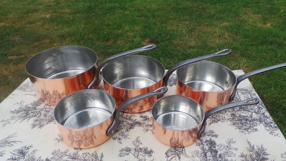 Copper Pans Set Five Vintage French 1.8-2.4mm Copper Graduated Pans Iron Handles Refurbished New Tin Perfect Balance Bespoke Set