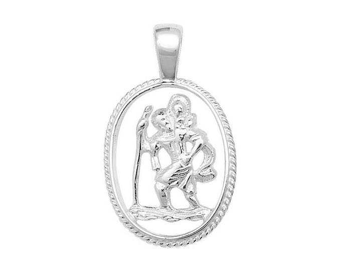 Sterling Silver Cut Out Oval St Christopher Medallion Charm Pendant