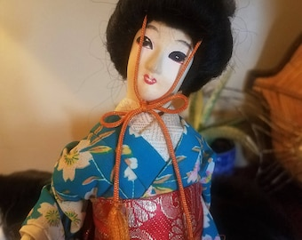 Vintage Tall Silk Skinned Japanese Geisha Doll Figurine Floral Blue Kimono and Red Obi Asian Decor/Japanese Decor Made in Japan