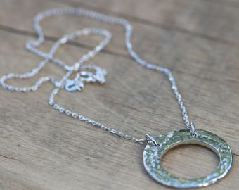 Fine Silver Polo Hammered Textured Circle Necklace