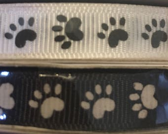 "3/8"" Grosgrain ribbon white black paw print 25yd"