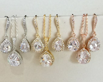 Bridesmaid jewelry gift set on gift cards, wedding jewelry,  rose gold rhinestones, gold gift set, silver bridesmaid jewelry