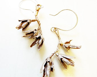 Wildflower Branch Earrings, Organic Nature Jewelry, Hand Cast Bronze, Sterling Silver