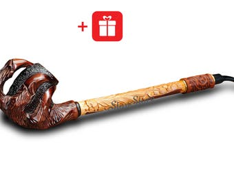 VIP Dragon Claw Tobacco Pipe EXTRA LONG Smoking Pipe Wooden Pipe Tobacco Smoking Bowl Long Stem Pipe Daenerys Dragons Game of Thrones Gifts