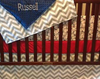 Baby Boy Crib Bedding - Baseball, Red, and Gray Chevron Bedding Ensemble