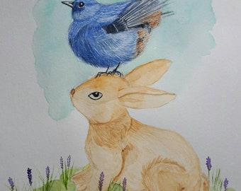 Blue Bird and a Bunny - Original Watercolor