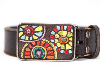Belt Buckle, Leather Belt, Mid Century Modern Inspired Buckle, Women's Leather Belt, Women's Belt Buckle, Semiprecious Stones Handmade Tile