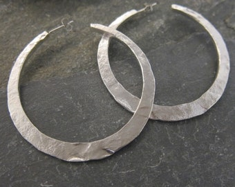 "Silver hoop earrings ""Malicia"" Vermeil, sterling silver, hand made in France."