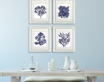 Navy Blue Coral prints - Set 4 Corals in Navy Blue 2 - Nautical Decor Nautical print sea coral print coral beach decor Beach Art Beach House