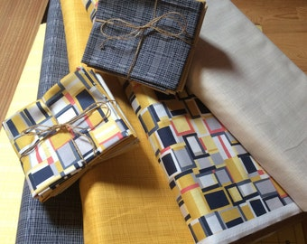fat Quarter Bundle, quilting fabric bundle, geometric checked yellow fabric, 100% cotton, Inprint Jane Makower -  geesbends