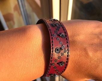 Plum and midnight blue bracelet