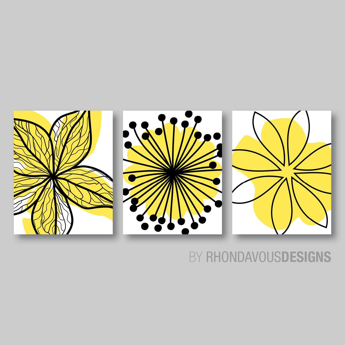 Yellow Black White Flower Print Trio - Home Petals Bloom Wall Art ...