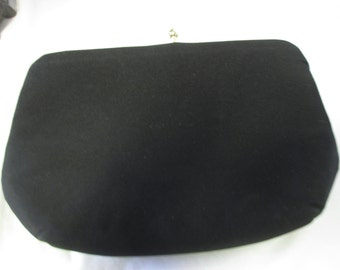 Vintage Black Silk purse Clutch evening bag HL USA gold ball clasp and trim gold chain handle