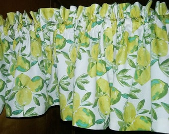 """LEMONS Valance or Panel 40 X  12"""" 14"""" 18"""" 24"""" 32""""  Curtain Lined or Unlined"""