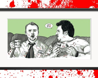Shaun Of The Dead 'Red On You' Movie Illustration Signed Print